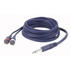 Câble LINE FL33 - Mono JACK > 2 RCA Mâle L/R